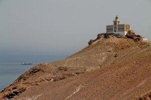 El impresionante faro Español en el final del Cabo Tres Forcas